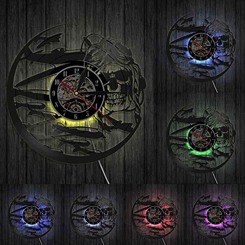 Reloj de pared retro de calavera piloto aviador esqueleto vinilo disco reloj de pared avión avión jet casco hipster gafas cráneo pared Deco luces LED