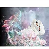40x50cm 油絵 数字キットによる絵画 塗り絵 手塗り 動物の白鳥- DIY絵 デジタル油絵-40x50cm (diyの木製フレーム)