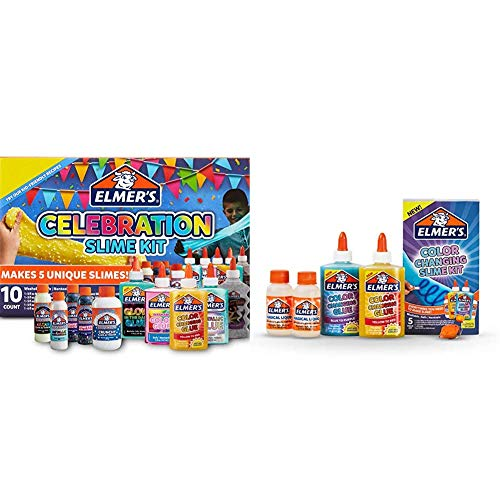 Elmer?S Celebration Slime Kit | Slime Supplies Include Assorted Magical Liquid Slime Activators and Assorted Liquid Glues & Color Changing Slime Kit, 5 Piece Kit