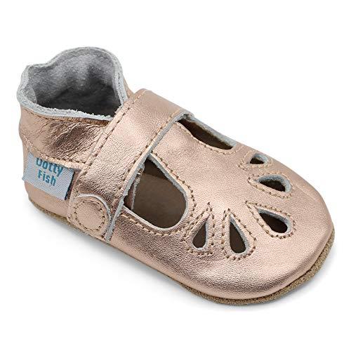 Dotty Fish Chaussures bébé en Cuir Souple. Chaussons antiderapant Bebe. T-Bar Or Rose pour Filles. 12-18 Mois (21 EU)