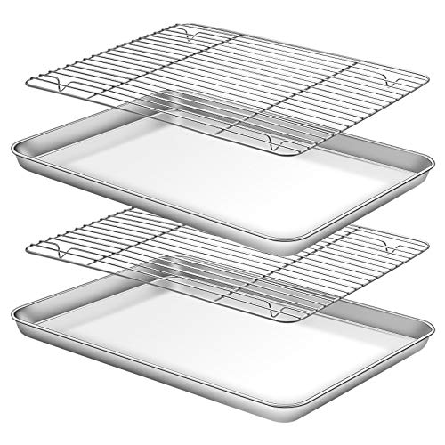Deedro Baking Sheet with Rack Set [2 Sheets + 2 Racks], Stainless Steel Cookie Half Sheets Baking Pan Oven Tray with Cooling Rack, 16 x 12 x 1 Inch, Heavy Duty, Non-toxic, Easy Clean