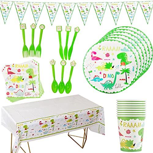 74 piezas de vajilla de fiesta de dinosaurio, banderines de cumpleaños, tazas de dinosaurio, servilletas, decoración para tartas para niños, fiestas de cumpleaños, para 12 invitados