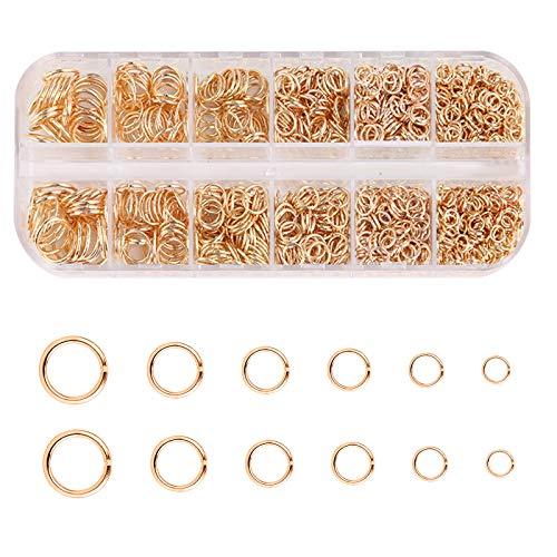 LUTER 1300 Piezas Anillos de Salto Abiertos de Metal de 4-10 mm, Conectores de Anillo Redondo Para Hacer Joyería DIY, Collar de Pulsera de Reparación