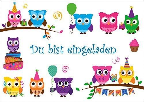 12-er-Set Eulen-Einladungskarten: 12 lustige Eulen-Einladungen zum Kindergeburtstag oder zur Party von EDITION COLIBRI; umweltfreundlich gedruckt ( 10645)