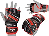 KIKFIT Red MMA Gloves Grappling Sparring Maya Hide Leather Gloves Martial Arts Training Mitts - Ideal for...