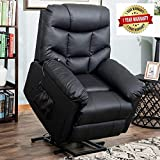 Harper&Bright Designs Power Lift Recliner Chair Upholstered PU Leather with Remote Control for Living Room (Black PU Leather)