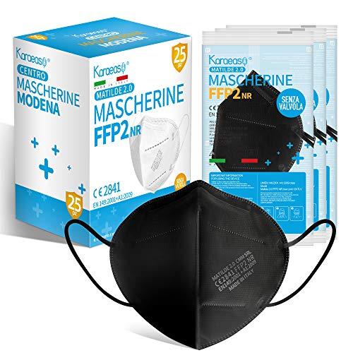 KARAEASY Mascherine ffp2 Nere Certificate Ce Made In Italy Confezione da 25 Pezzi PFE ≥95% Nero (Normale)