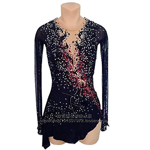 DCV Eislauf Kleid Mädchen Eiskunstlauf Kleid Schwarz Skating Wear Training Wettbewerb Wettbewerb Rhythmische Gymnastik Trikot Kostüm Massanfertigung,Black-Child14