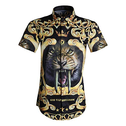 Photo of LIUXING-TUMI Mens Short Sleeve 3D Print Shirt Button Down Dress Shirt Regular Fit Cotton Shirt Work Casual Shirt Summer Blouse Top Clubwear Size M L XL XXL 3XL (Color : Black, Size : XL)