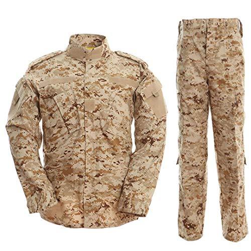 PEIJIAN Táctica de Camuflaje del ejército Combate Uniforme Uniforme de la Chaqueta de los Hombres Multicamara Militar Ropa determinada de Airsoft Camo Jackets + Pants Desert Camo M