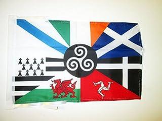 Multi Keltische Vlag 45x30 cm koorden - Keltische landen KLEINE vlaggen 30 x 45 cm - Banier 18x12 in Hoge kwaliteit - AZ FLAG