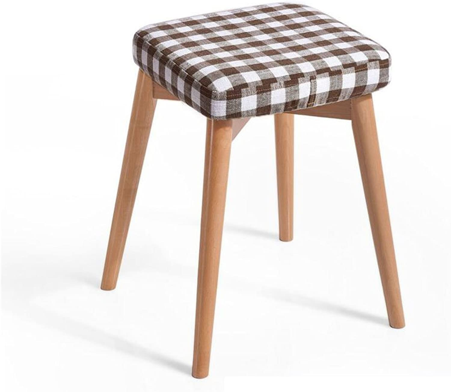 CJC Wooden Stool Household Removable seat Cover Solid Wood Home Office Furniture Kitchen (color   1)