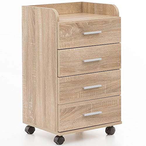 Wohnling WL5.749 Rollcontainer, Holz, Sonoma, 40 x 70,5 x 33 cm