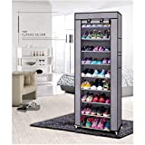 PYXBE Multipurpose Portable Folding Shoes Rack 9 Tiers Multi-Purpose Shoe Storage Organizer Cabinet Tower with Iron and Nonwoven Fabric with Zippered Dustproof Cover (Grey) (9-Grey) shoes mens May, 2021