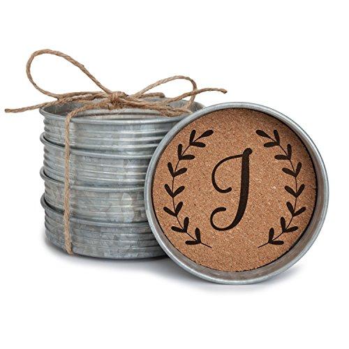 Occasionally Made Monogram J Mason Jar Lid 4 Coaster Stack