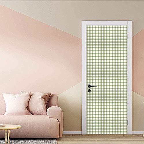 Papel tapiz 3D 77 * 200 cm verde a cuadros PVC autoadhesivo impermeable etiqueta de la puerta decoración del hogar Mural calcomanía DIY papel tapiz sala de estar