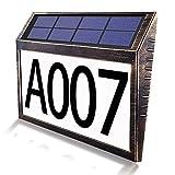 Numero civico di illuminazione solare YBwanli,10 LED, perline di luce bianca 6500K,numero civico solare luce con interruttore dimmer, impermeabile, numero di porta del garage giardino esterno