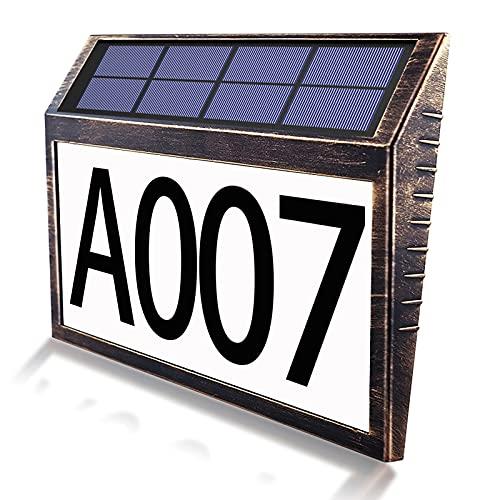Numero Civico Esterno Illuminato a Energia Solare,Lampada da Parete per Esterni con Numero Civico e Interruttore Crepuscolare,Pannelli Solari Impermeabili IP44 di Alta Qualità,Per Pareti/Porte/Garage