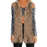 LUCKYCAT Mujeres cálida Chaqueta de Abrigo Engrosamiento Piel sintética Fox visón Parka Outwear Cardigan Chaleco (Marrón, 3XL-Large)