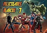 OBLEA de Avengers Personalizada con Nombre y Edad para Pastel o Tarta, Especial para cumpleaños, Medida Rectangular de 28x20cm