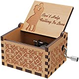 Huntmic Can't Help Falling in Love Wood Music Box, Antique Engraved Musical Boxes Case for Birthday Present Kid Toys Hand-Operated (Wood-B)