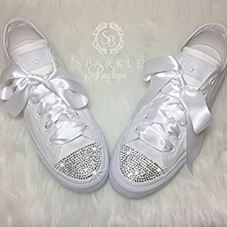 CUSTOM Wedding Shoe Bling Chucks Swarovski Bridal Sneakers All Stars with Crystals for the BRIDE to Be- Quinceañera - Prom Shoes