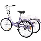 "VANELL 20"" Tricycle Bike 3 Wheeled Bicycle with Large Size Basket Backrest Seat for Teenager Women..."