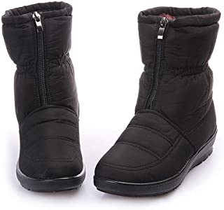 Women Snow Boots Waterproof Slip On Casual Frosty Winter Warm Wedges Round Toe Mid Calf Boot