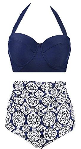 AMOURRI Vintage Polka Underwire High Waisted Swimsuit Bathing Suits Bikini,Navy Blue,US 6-8= Tag Size L