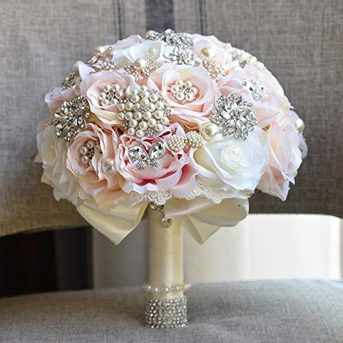 DEAR-JY Brautstrauß,Champagner Rose Strass Perle Simulation handgemachte Blumenstrauß Hochzeit Lieferungen,Verwendet für Hochzeitsdekoration Hochzeitsfotografie Requisiten