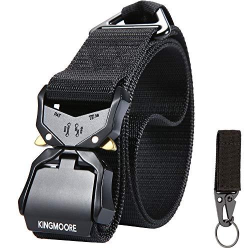 "KaMoore KingMoore Tactical Belt, Nylon Web Work Belt with Heavy Duty Quick Release Buckle, Black, Waist:30""-35"""