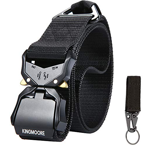 KingMoore Tactical Belt,Heavy-Duty Quick-Release Metal Buckle Work Belt for Men Women