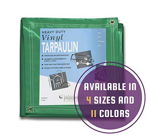 Chicago Canvas & Supply 8 x 10 Heavy Duty Green Vinyl Tarp