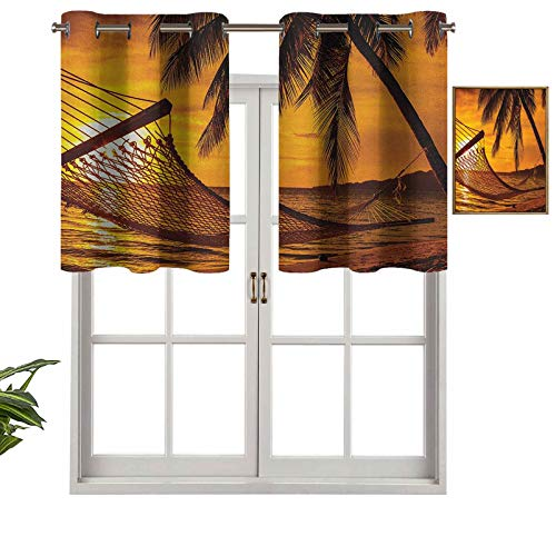 Hiiiman Cortinas con ojales y silueta de hamaca de The Ocean on Tropical Beach en Romantic Sunset Seaside Artsy, juego de 1, 132 x 45 cm para ventana de cocina