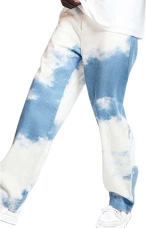 Men's Tie Dye Jeans Pants Summer Casual Loose Straight-Leg Denim Pants Fashion Wide Leg Pants Pockets Trousers - Limsea