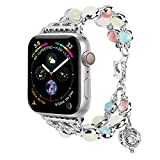 TILON For Apple Watch Band 38mm 40mm Series 4/3/2/1, Adjustable Wristband Handmade Night Luminous Pearl iWatch Bracelet with Essential Oil/Perfume Storage Pendant for Women/Girls(Silver)