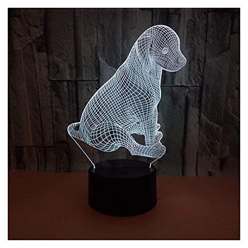 Rnwen Puppy LED Colorido Degradado 3D lámpara de Mesa Tridimensional táctil Control Remoto USB luz de Noche Escritorio Junto a la Cama decoración Creativa Adornos de Regalo