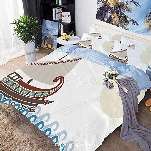 Set copripiumino 3 pezzi in tessuto in microfibra, nave ornata che galleggia sul classico stile greco delle onde dell'oceano sole sbiadito, per camera da letto, ombrellone in legno rosso chiaro, set c
