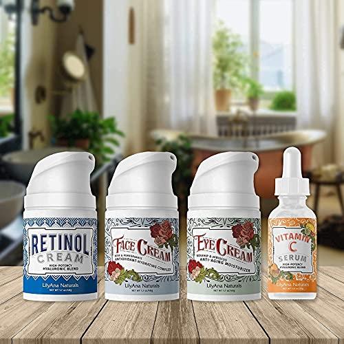 LilyAna Naturals Skincare Gift Set – Retinol Cream, Vitamin C Serum, Eye Cream and Face Cream Moisturizer- Unique Gift…