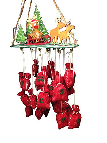 Petra's Bastel News Bastelset für Adventskalender Rentiere im Wald inkl. Holzteile, Adventskalenderzahlen aus Filz, Holz, Holzfarben, 45 x 35 x 10 cm