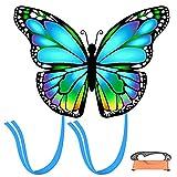 MMTX Azul Cometas de Mariposa para niños y Adultos, Gran Juguete al Aire Libre para niños Principiantes, Regalo de Juguetes voladores de Cometas