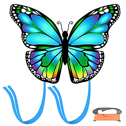 weeyin Blau Schmetterlings Drachen Flugdrachen für Kinder und Erwachsene mit langem Schwanz, Einleiner Flugdrachen für Kinder, Kite Drachen Freien für Anfängerkinder inkl.100m Drachenschnur