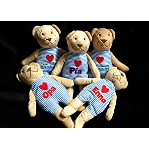 JP Handmade Teddy mit Namen, Stofftier mit Name, personalisiert