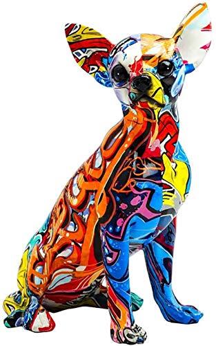 ORNAMENT Hand-painted Animal Sculpture Resin Statue Cute Modern Desk Shelf Home Office Desktop Porch Entrance MUMUJIN (Color : Chihuahua)