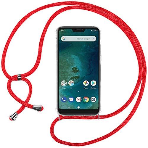 Ingen Funda con Cuerda para Xiaomi Mi A2 Lite - Carcasa Transparente TPU Suave Silicona Case con Colgante - Rojo