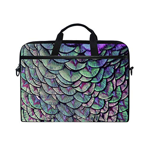 SLHFPX Laptop Bag Bird Peacock Feather 14' 15' Laptop Case Notebook Briefcase Tablet Handbag Sleeve Computer Backpack with Shoulder Strap Handle for Men Women Travel Business School