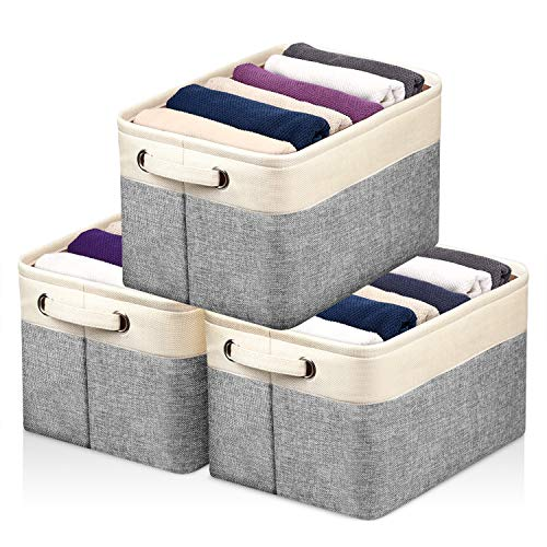 Kntiwiwo Storage Baskets for Closet Fabric Storage Bins for Shelves Decorative Storage Cubes with Handles for Home Closet Bedroom Nursery Organizer, Set of 3