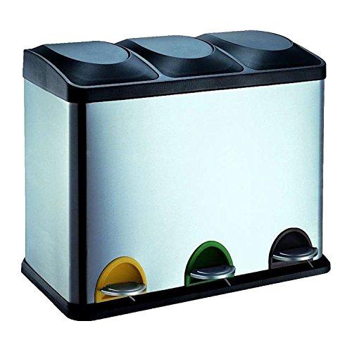 Protenrop Ecol-Trio - Cubo de basura con 3 compartimentos, 4