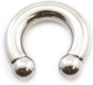EG GIFTS Horseshoe Prince Albert Ring Internally Threaded Surgical Steel 0g 00g