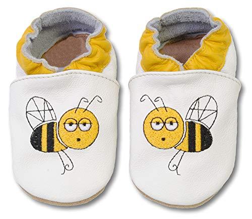 bestickte Krabbelschuhe in verschiedenen Designs von HOBEA-Germany, Größe Schuhe:24/25 (24-30 Mon), bestickte Motive:Biene